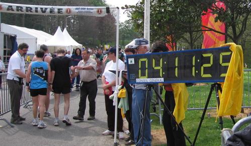Marathon de Nantes, chronomètre à l'arrivée